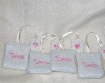 Felt play food - pretend food - play kitchen food - White Tea party tea bags #PF2546
