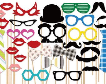 Photo Booth Props - 31 Piece Wedding Photo Props set - Birthday Photobooth Props