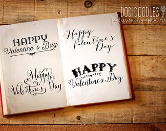 Valentine's Day Overlays, Typography Clipart, Valentine Clipart, 300 dpi PNG, commercial use, script lettering, love words, calligraphy