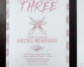 Young, Wild and Three Themed 3rd Birthday Invitation for Girl
