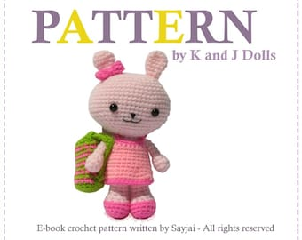 ENGLISH Instructions - Instant Download PDF Crochet Pattern Pinky the Bunny with 2 Outfits and bag