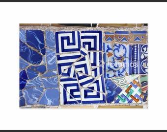 Blue wall prints, Blue Mosaic prints, Abstract art gift, Wall Art prints, Gaudi,