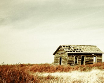 Landscape Photography, homestead, weathered house, prairie, grasslands, rustic, burnt red, russet, gold, gray, Fine Art Print