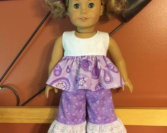 "Cute little ruffled top and ruffled pants for AG or 18"" doll"