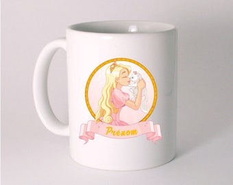 """Princess and her cat"" custom ceramic MUG"