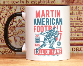 American Football personalized mug handmade 21st birthday gift or any year on request custom mug with name and year of birth