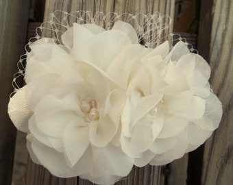 Wedding Fascinator Chiffon double flower bridal fascinator wedding hair clip, freshwater pearls, Swarovski crystals