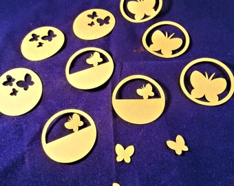 9 butterfly circle tags