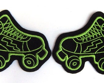 Roller Derby skate patch Pair of lime green (more and custom colors available)