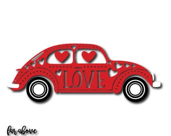 Love Bug with Heart Dots Valentine's Day Car SVG, EPS, dxf, png, jpg digital cut file for Silhouette or Cricut
