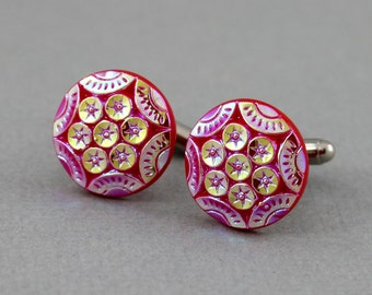 Sequined in Red - vintage Czech glass button cufflinks, repurposed, up cycled cufflinks