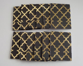 Set of 12 Black and Gold Matchbook Notepads, party favors, thank you gifts, mini note pad