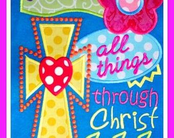 I can do all things through Christ Machine Applique Design