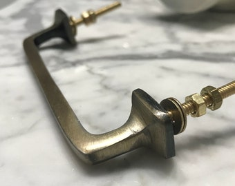 Bar Pull, Metal Antique Old Gold Finger Fit Pulls for Dresser Drawer Replacement Handle, Knobs and Fixtures, Hardware, Item #585344974