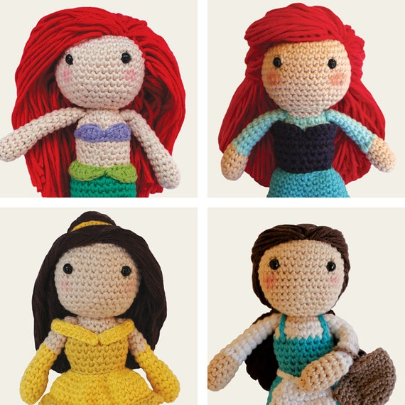 Disney Princess: Ariel, Ariel Girl, Belle & Peasant Belle. Amigurumi Pattern PDF.