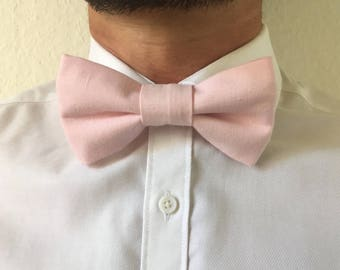 Pale pink cotton adult bowtie adjustable / bow tie