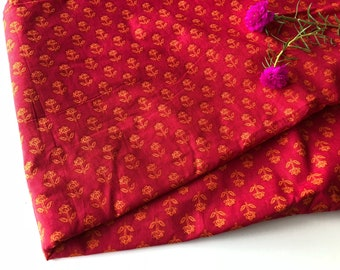 Block Print Fabric, Indian Fabric, Red and Orange Fabric, Boho Print, Indian Cotton, Quilting cotton, Tribal Print