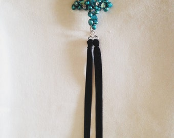 """Beautiful One-of-a-Kind Wire Bead Cross Necklace from Rebecca Ellis--16"""""""