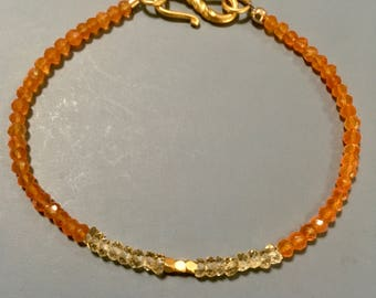 Citrine Carnelian gemstone bracelet gold filled beads
