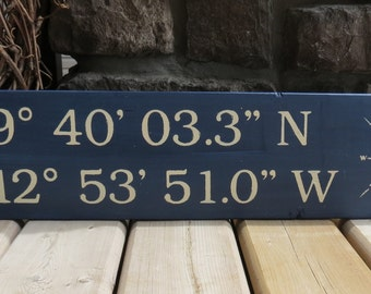 Latitude Longitude Coordinates Sign - Nautical, Beach, Rustic, GPS, Custom Wood Sign