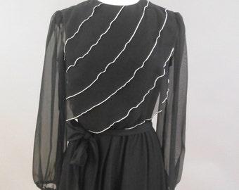 Black & Silver Disco Dress by Amy-Deb, Vintage 1970's, M