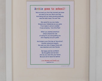 Personalised Starting School Gift, First Day at School Gift, Children's Poetic Print, Starting School Print, Kids Print, New School Print,