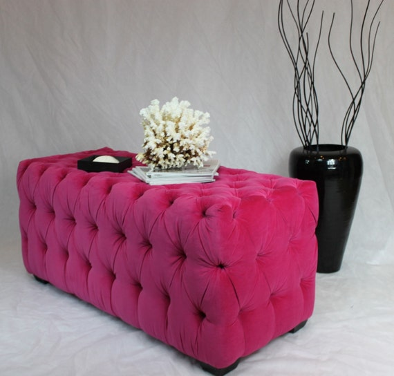SOLD-CAN replicate Large Fuchsia Tufted Ottoman with Black