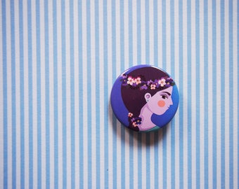 Backpack pin, violet pin, pin buttons, girl pin, backpack pins set, gift for female friend, gift for teen girl, flowers brooch, pin buttons