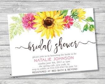 Sunflower Bridal Shower Invitation, Summer Bridal Shower Invitation, Sunflower, Floral, Flower Bridal Shower, Printable Invitation, Yellow