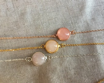 Rose gold bridesmaid necklace, Rose Quartz necklace, blush bridesmaid gift,  Rose Quartz necklace, Bridal Jewelry, bridesmaids gift