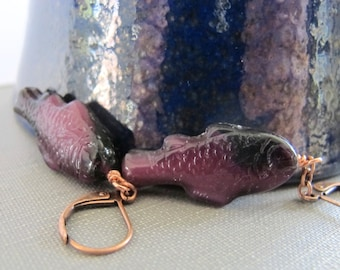 Glass Earrings, Copper Earrings, Copper Chain, Purple Fish, Fish Earrings,  Purple Earrings, Purple Glass, Copper Jewelry