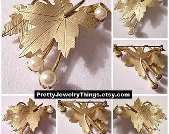 Sarah Coventry Sarah Coventrythree Pearls Two Leaf Pin Brooch Gold Tone Vintage Brushed Lined Large Layered Stem Branches Round White Beads