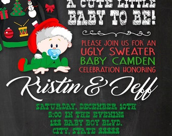 Ugly Christmas Sweater Customizable Baby Shower Invitation, digital printable 5x7 file