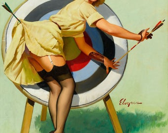 Pin Up Girl Art Print Reproduction, right_on_target_1964 by Gil Elvgren