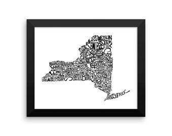 New York typography map art FRAMED print customizable personalized custom state poster wall decor engagement wedding housewarming gift