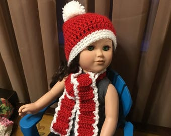"""18"""" doll hat and scarf"""