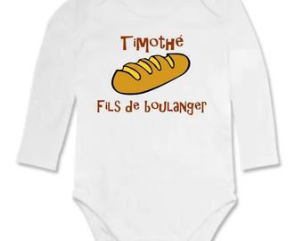 Bodysuit Baker son personalized with name
