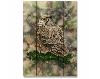 Woodland Ghost Owl by Dave Bartholet, Watercolor Painting Print on Wood, Nature and Bird Art (DBWG)