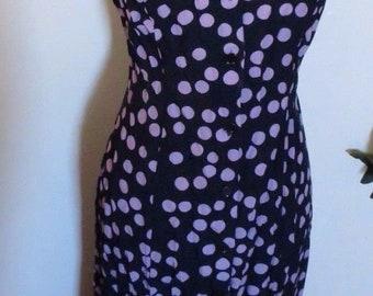 Sheri Martin Vintage 80s 90s Shirt Dress Polka Dot Blue Purple Maxi Long Sleeveless 7/8 Slit