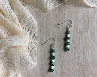 Aventurine and Glass Beaded Drop Earrings