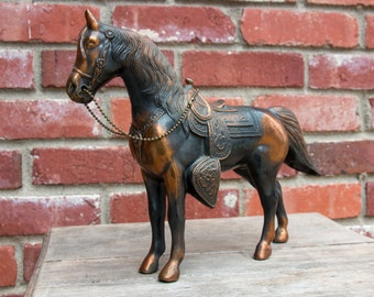 "Large Vintage Cast Metal Horse figurine 8 1/2"" Equestrian Decor"
