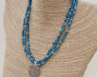 Triple Strand of Blue Apatite Beads with Sterling Pendant
