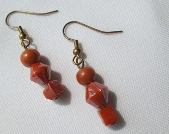 Orange Glass Beaded Earrings