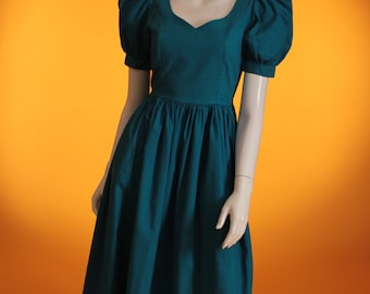 Vintage 1980s 'Laura Ashley Made in Great Britain' Puff Sleeve Turquoise Cotton Party Dress UK Size 8 US Size 4