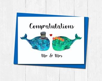 Whale wedding card, Mr and Mrs wedding card, Cute wedding card, Wedding day card, Bride and groom wedding card, Unique whale wedding card