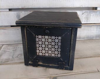 Country Rustic Wooden Onion Bin, Candy Bin, Tea Bag Storage Bin, Rollout Door with Tin Insert Distressed Finish