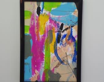 Abstract, Mixed Media, Painting, Original, Framed