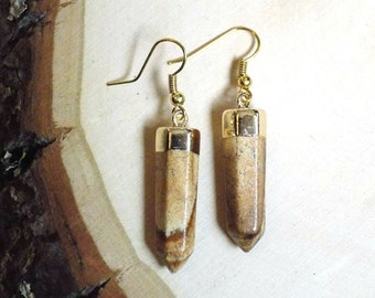 Jasper Earrings, Gold Dipped Picture Jasper Stone Earrings, Natural Stone Jewelry, Jasper Jewelry, Gemstone Jewelry, Gifts for Her