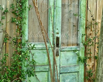 "Door Photography, Old Door Art, Fine Art Photography, Shabby Rustic Door Print, Cottage Farmhouse Green Garden Print- ""Green Cottage Doors"""