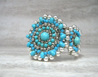 Turquoise Cuff Bracelet (silver or gold)-Native American Squash Blossom South Western Jewelry by Sharona Nissan (Sale/Clearance)